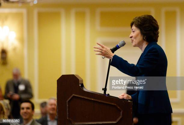 S Senator Susan Collins speaks at a Penobscot Bay Regional Chamber of Commerce event Friday where she announced she will not run for governor Friday...