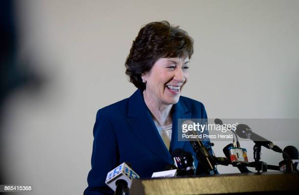 S Senator Susan Collins speaks with reporters after announcing she will not run for Governor Friday October 13 2017