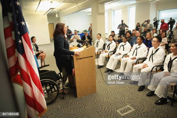 S Senator Tammy Duckworth speaks at a citezenship ceremony on September 15 2017 in Chicago Illinois In Recognition of Constitution Day and...