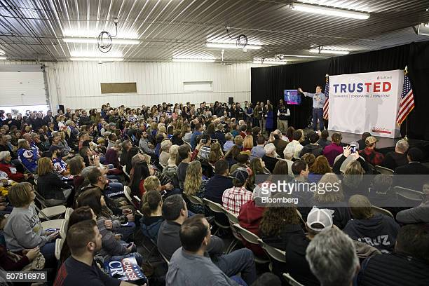 Senator Ted Cruz a Republican from Texas and 2016 presidential candidate speaks during a campaign event at Johnson County Fairgrounds in Iowa City...