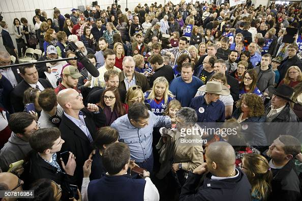 Senator Ted Cruz a Republican from Texas and 2016 presidential candidate center greets attendees after a campaign event at Johnson County Fairgrounds...