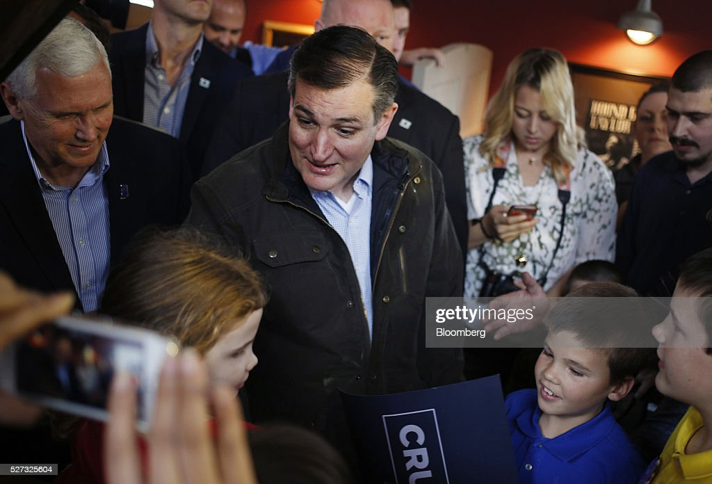 Senator Ted Cruz, a Republican from Texas and 2016 presidential candidate, greets attendees during a campaign event at The Mill restaurant in Marion, Indiana, U.S., on Monday, May 2, 2016. Even as his campaign struggles for survival, Cruz dominated weekend delegate selection contests that he and other Republicans hope could block Donald Trump from winning the party's nomination at their national convention. Photographer: Luke Sharrett/Bloomberg via Getty Images