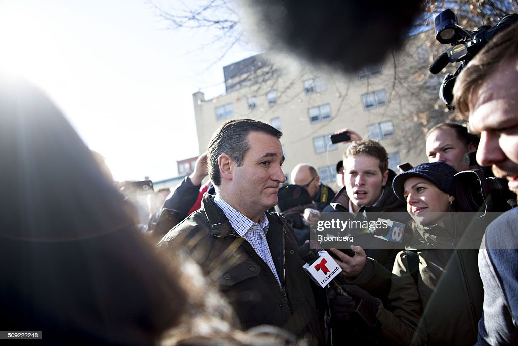 Senator <a gi-track='captionPersonalityLinkClicked' href=/galleries/search?phrase=Ted+Cruz&family=editorial&specificpeople=7222093 ng-click='$event.stopPropagation()'>Ted Cruz</a>, a Republican from Texas and 2016 presidential candidate, speaks to the media while arriving at the Red Arrow Diner in Manchester, New Hampshire, U.S., on Tuesday, Feb. 9, 2016. Voters in New Hampshire took to the polls today in the nations first primary in the U.S. presidential race. Photographer: Daniel Acker/Bloomberg via Getty Images