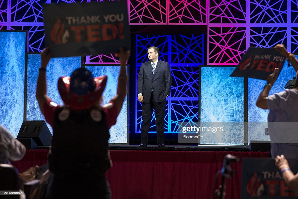 Senator Ted Cruz a Republican from Texas and former 2016 presidential candidate pauses while speaking during the 2016 Texas Republican Convention in...