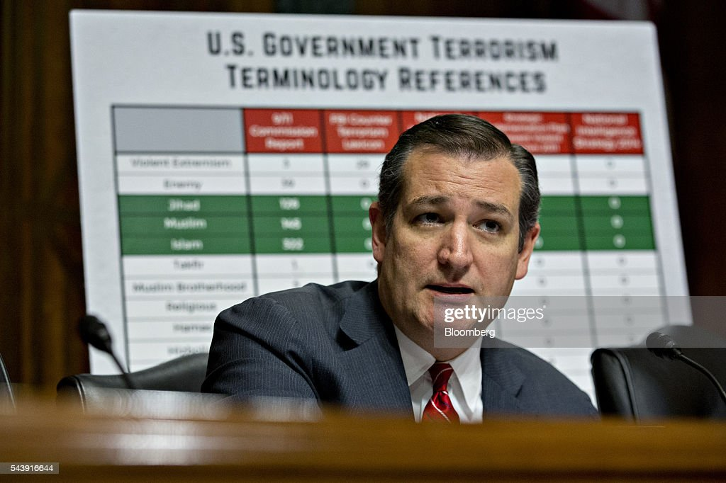 Senator Ted Cruz, a Republican from Texas, questions Jeh Johnson, U.S. secretary of Homeland Security (DHS), not pictured, during a Senate Judiciary Committee hearing in Washington, D.C., U.S., on Thursday, June 30, 2016. Johnson said gun control is a matter of homeland security during the hearing. Photographer: Andrew Harrer/Bloomberg via Getty Images