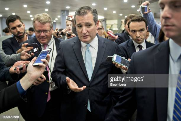 Senator Ted Cruz a Republican from Texas speaks to members of the media in the basement of the US Capitol in Washington DC US on Thursday June 22...