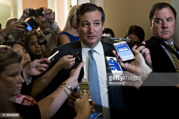 Senator Ted Cruz a Republican from Texas speaks to members of the media while walking to a GOP meeting on healthcare at the US Capitol in Washington...