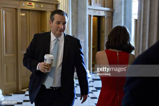 Senator Ted Cruz a Republican from Texas walks to a private GOP meeting at the US Capitol in Washington DC US on Thursday June 22 2017 Senate...