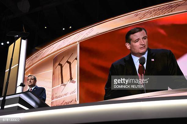 Senator Ted Cruz addresses delegates on day three of the Republican National Convention at the Quicken Loans Arena in Cleveland Ohio on July 20 2016...
