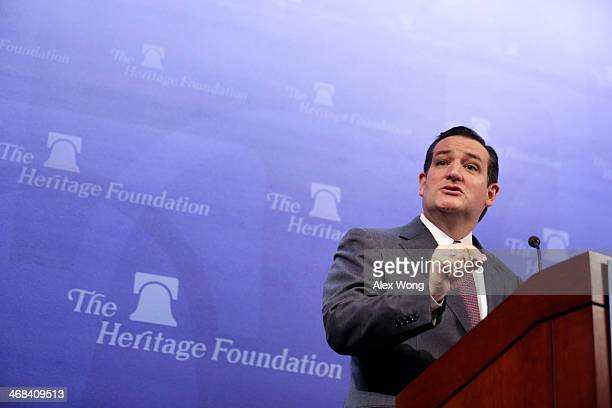 S Senator Ted Cruz addresses the Heritage Action for America's Conservative Policy Summit February 10 2014 in Washington DC Sen Cruz discussed the...