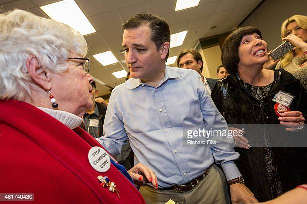 Senator Ted Cruz greets supporters at the South Carolina Tea Party Coalition convention on January 18 2015 in Myrtle Beach South Carolina A variety...