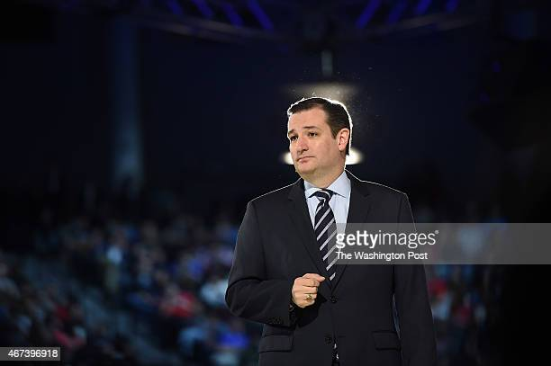 Senator Ted Cruz makes a speech where he announced his candidacy for a presidential bid at Liberty University on Monday March 23 2015 in Lynchburg VA
