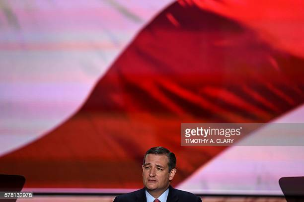 US Senator Ted Cruz of Texas speaks on the third day of the Republican National Convention in Cleveland Ohio on July 20 2016 / AFP / Timothy A CLARY
