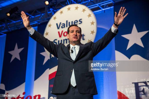 Senator Ted Cruz speaks at the 2013 Values Voter Summit held by the Family Research Council on October 11 2013 in Washington DC The summit which goes...