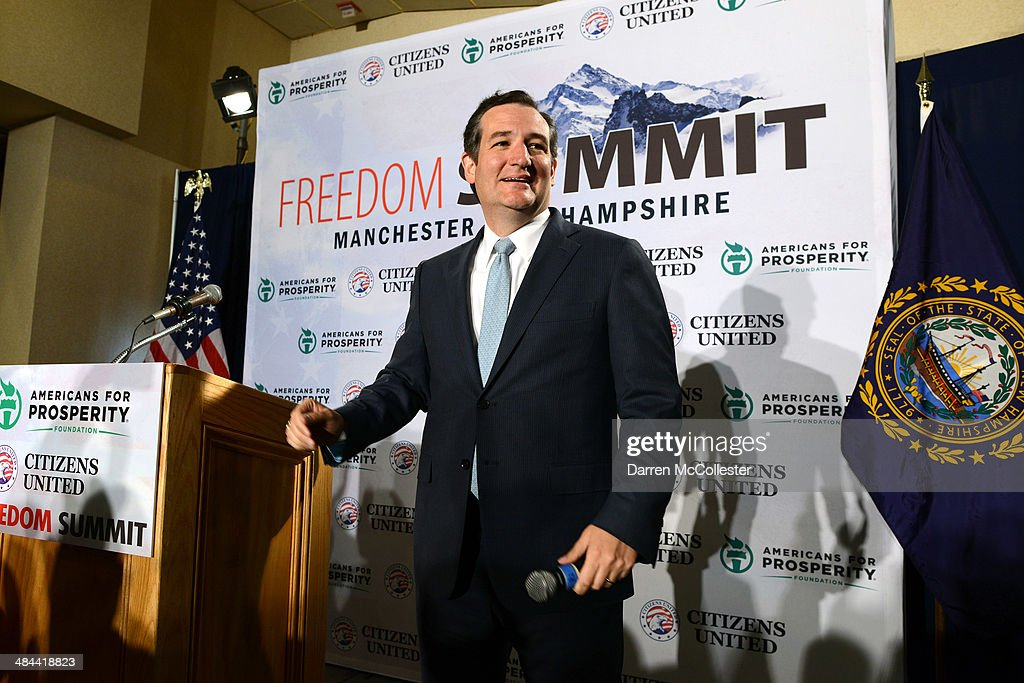 U.S. Senator <a gi-track='captionPersonalityLinkClicked' href=/galleries/search?phrase=Ted+Cruz&family=editorial&specificpeople=7222093 ng-click='$event.stopPropagation()'>Ted Cruz</a> (R-TX) speaks at the Freedom Summit at The Executive Court Banquet Facility April 12, 2014 in Manchester, New Hampshire. The Freedom Summit held its inaugural event where national conservative leaders bring together grassroots activists on the eve of tax day. Photo by Darren McCollester/Getty Images)