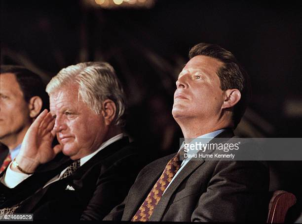 Senator Ted Kennedy and Vice President Al Gore at the Unity '98 Dinner at the Boston Park Plaza Hotel on September 17 1998