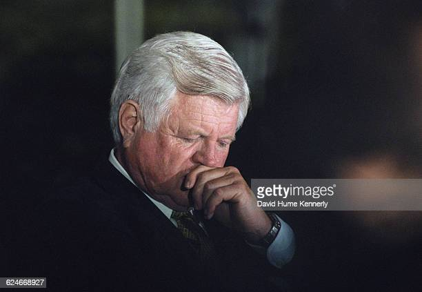 Senator Ted Kennedy at the White House for an event promoting peace in Ireland on September 11 1998