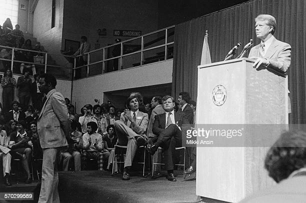 US Senator Ted Kennedy listens to American politician and Presidential candidate Jimmy Carter speak in Boston Massachusetts 1976