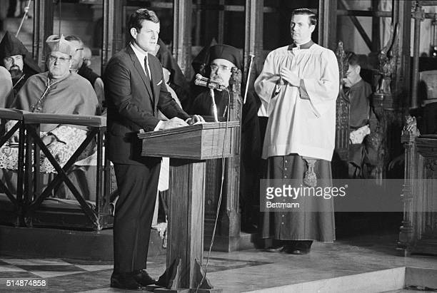 Senator Ted Kennedy speaks at the requiem mass for his brother Robert in St Patrick's Cathedral in New York RFK was assassinated while campaigning...