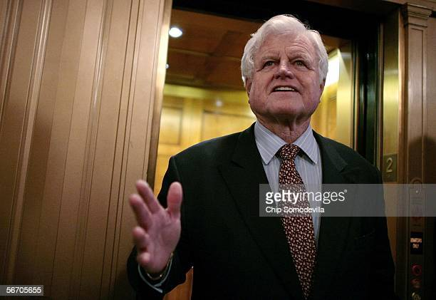 Senator Ted Kennedy talks with the news media after walking off the floor of the US Senate after a roll call vote to achieve cloture on the...