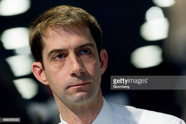 Senator Thomas 'Tom' Cotton a Republican from Arkansas listens during an interview in Washington DC US on Tuesday March 17 2015 Iranian leaders...