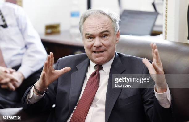 Senator Tim Kaine a Democrat from Virginia speaks during a meeting on tax reform and election results at the US Capitol in Washington DC US on...