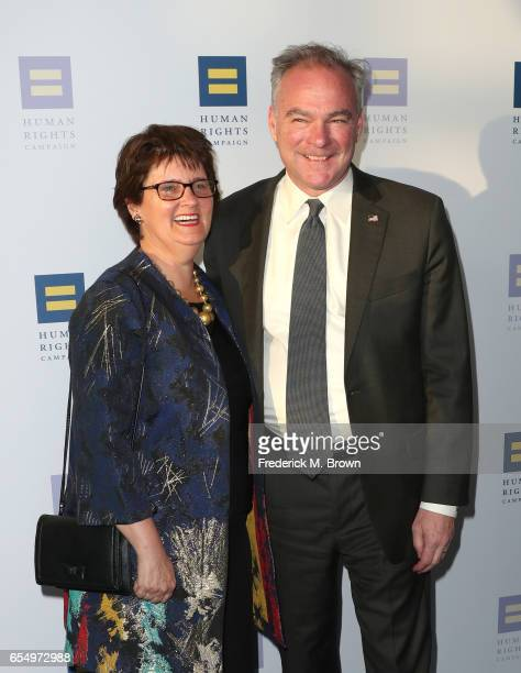 Senator Tim Kaine and Anne Holton at The Human Rights Campaign 2017 Los Angeles Gala Dinner at JW Marriott Los Angeles at LA LIVE on March 18 2017 in...