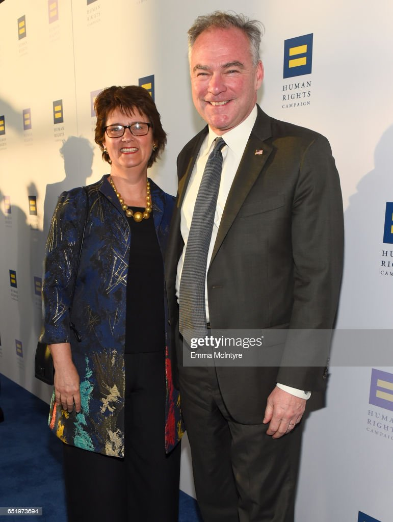 Senator Tim Kaine (R) and Anne Holton at The Human Rights Campaign 2017 Los Angeles Gala Dinner at JW Marriott Los Angeles at L.A. LIVE on March 18, 2017 in Los Angeles, California.