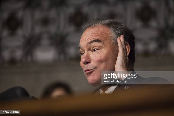 Senator Tim Kaine questions Secretary of Defense Ashton Carter and Chairman of the Joint Chiefs of Staff Gen Martin Dempsey during a Senate Armed...