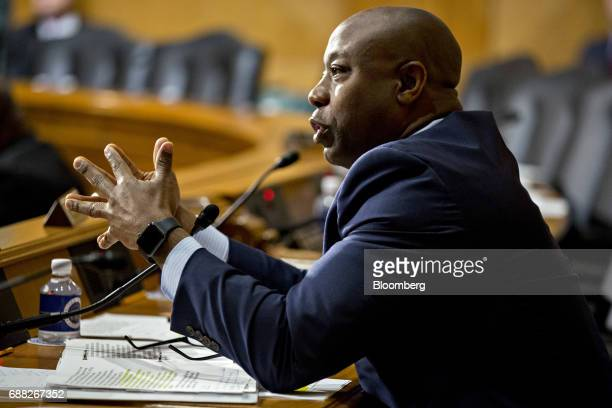 Senator Tim Scott a Republican from South Carolina questions Steven Mnuchin US Treasury secretary not pictured during a Senate Finance Committee...