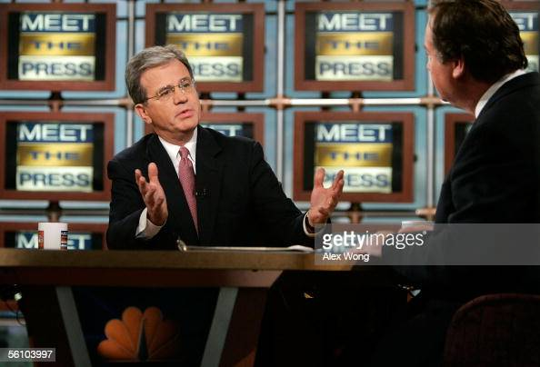 S Senator Tom Coburn speaks on NBC's 'Meet the Press' as he is interviewed by moderator Tim Russert during a taping at the NBC studios November 6...
