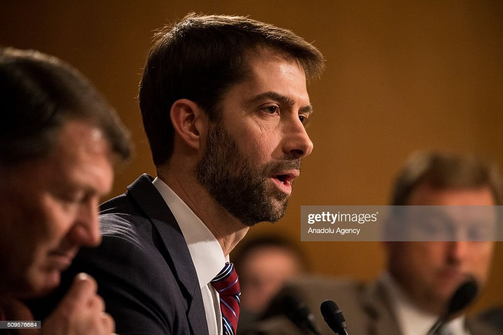 Senator Tom Cotton questions Janet Yellen, Chair of the Federal Reserve Board of Governors, during a Senate Banking Committee on the semiannual monetary report to Congress hearing in Washington, USA on February 11, 2016.