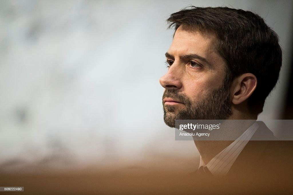 Senator Tom Cotton questions the witnesses during a Senate Intelligence Committee hearing in Washington, USA on February 9, 2016.