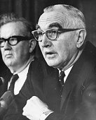 US Senator Wayne Morse taking part in a debate on the Vietnam War before the US Senate Foreign Relations Committee Washington DC February 22nd 1966