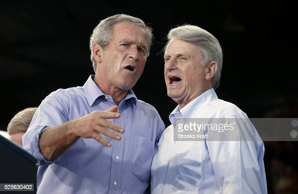Senator Zell Miller appears with United States President George W Bush at a campaign rally in Chillicothe