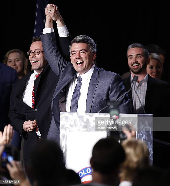 S Senatorelect Cory Gardner celebrates with friends and family behind him after being declared the winner in the race at the Colorado Republican...
