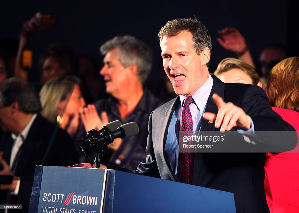 U.S. Senator-elect, Republican Scott Brown speaks to supporters after winning the Massachusetts U.S. Senate seat January 19, 2010 in Boston, Massachusetts. Brown defeated Democrat Martha Coakley in a special election to fill the seat of late U.S. Senator Edward M. Kennedy.
