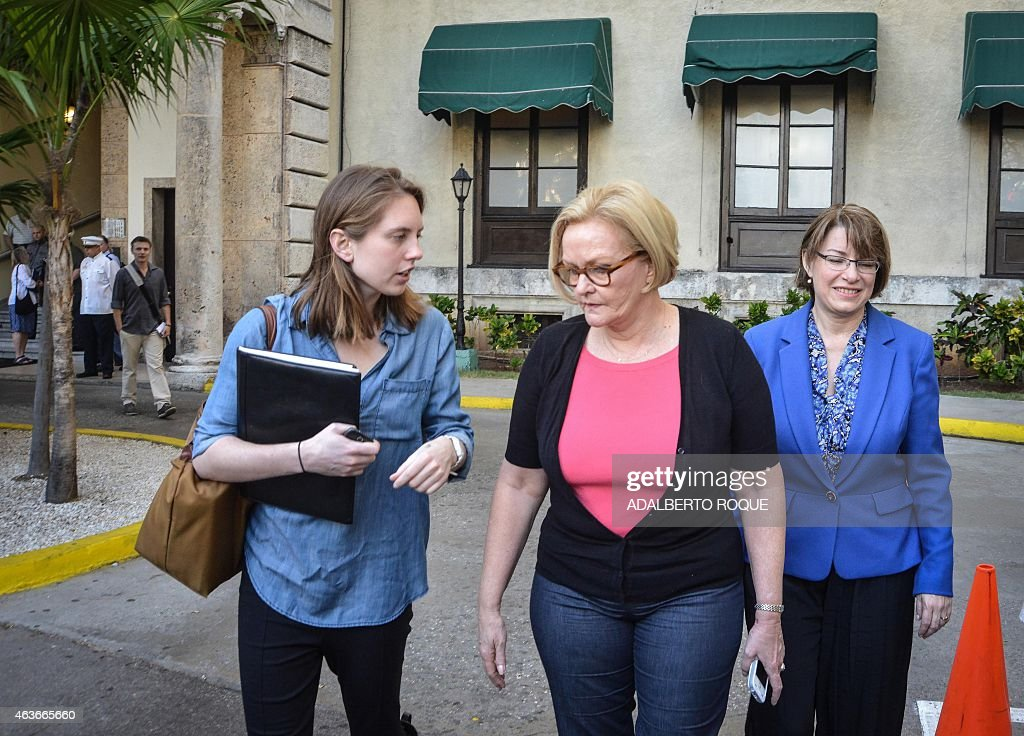 US Senators Amy Klobuchar from Minnesota and Claire McCaskill from Missouri leave the National Hotel in Havana after offering a press conference on...
