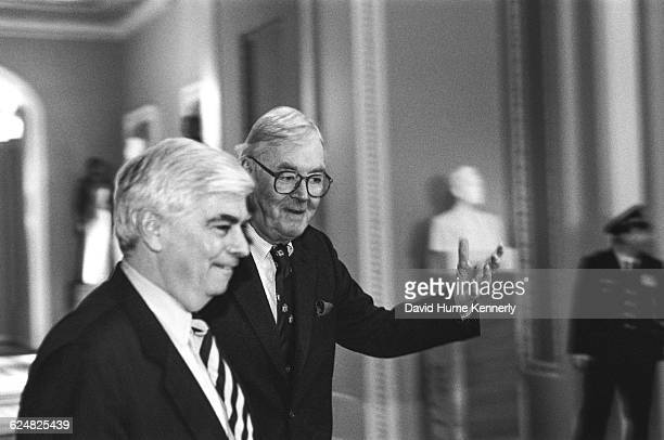 Senators Chris Dodd and Pat Moynihan arriving at the US Senate Chambers during the Clinton Impeachment Trial The President was charged with perjury...
