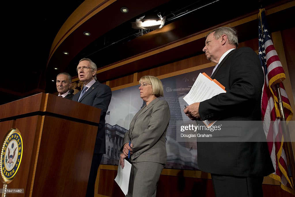 U.S. Senators Chuck Schumer (D-NY), Harry Reid (D-NV), Patty Murray (D-WA), and Dick Durbin (D-IL), hold a media availability to stress the need to pass the Senates bipartisan transportation and housing appropriations bill in the U.S. Capitol on July 25, 2013.