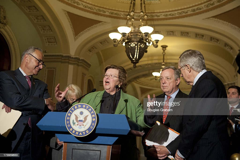 U.S. Senators Chuck Schumer (D-NY), Patty Murray (D-WA), Barbara Mikulski (D-MD) Dick Durbin (D-IL), and Harry Reid (D-NV), hold a media availability to discuss the need to move forward with a House-Senate conference on the Budget Resolution and to allow our nations appropriations process to progress in regular order in the U.S. Capitol on July 18, 2013.
