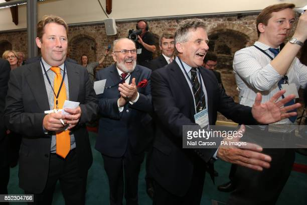 Senators Darragh O'Brien David Norris and Sean Barrett celebrate at Dublin Castle as Irish Government has suffered an embarrassing defeat in a...