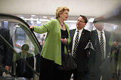 Senators Debbie Stabenow and Gary Peters head for the weekly Republican Democratic policy luncheon at the US Capitol May 17 2016 in Washington DC...