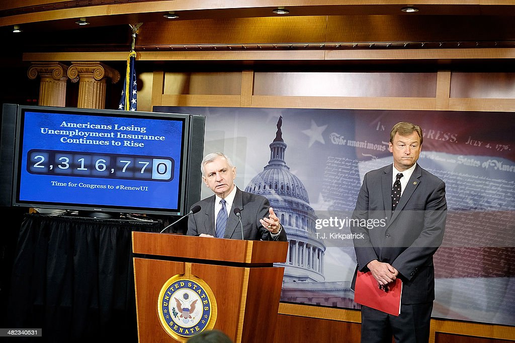 Senators <a gi-track='captionPersonalityLinkClicked' href=/galleries/search?phrase=Jack+Reed+-+Politician&family=editorial&specificpeople=534274 ng-click='$event.stopPropagation()'>Jack Reed</a> (D-RI), left, and Dean Heller (R-NV), standing in front of a screen showing an increasing number count to represent the number of Americans losing their unemployment insurance, speak to the press after a 61-35 vote in the Senate to advance the Reed-Heller bill on April 3, 2014 in Washington, DC. The bill, now expected to pass the Senate on Monday, would reinstate emergency unemployment insurance benefits for five months.