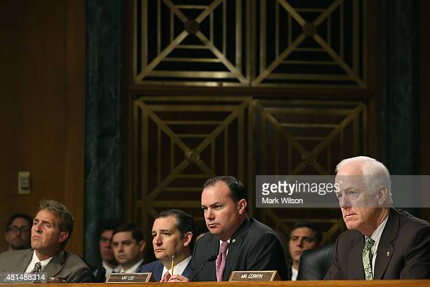Senators Jeff Flake Ted Cruz Mike Lee and John Cornyn listen to testimony during a Senate Judiciary Committee hearing on Capitol Hill July 21 2015 in...