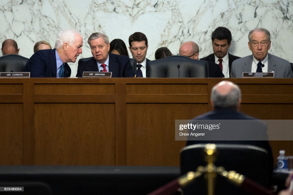 Senators John Cornyn (R-TX), Lindsey Graham (R-SC) and committee chairman Chuck Grassley (R-IA) listen to testimony from William Browder, chief executive officer of Hermitage Capital Management, during a Senate Judiciary Committee hearing titled 'Oversight of the Foreign Agents Registration Act and Attempts to Influence U.S. Elections' in the Hart Senate Office Building on Capitol Hill, July 27, 2017 in Washington, DC. On Tuesday, the committee withdrew its subpoena for former Trump campaign chairman Paul Manafort as he agreed to turn over documents and continue negotiating about being interviewed by the committee.