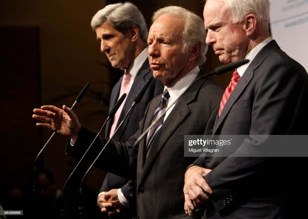 US Senators John Kerry Joseph Lieberman and John McCain give a press statement on the second day of the 46th Munich Security Conference at the...