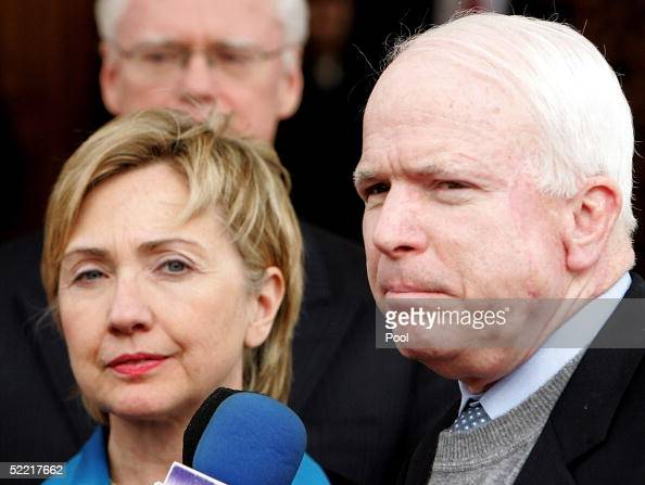 S senators John McCain and Hillary Clinton make a statement after meeting Iraq's interim Prime Minister Iyad Allawi during a visit by a US...