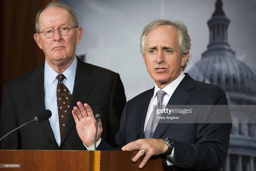 Senators Lamar Alexander (R-TN) and Bob Corker (R-TN) hold a news conference about the 'fiscal cliff' on Capitol Hill December 28, 2012 in Washington, DC. Senators were back on Capitol Hill on Friday to try to deal with the 'fiscal cliff' before the year-end deadline.