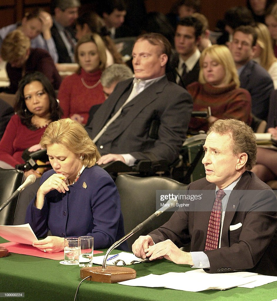 Senators Mary L. Landrieu (D-LA) and Arlen Specter (R-PA) testify, with Christopher Reeve directly behind them, before the full committee hearing on Tuesday which examined the dangers of cloning and the promise of regenerative medicine, in the Hart Building.